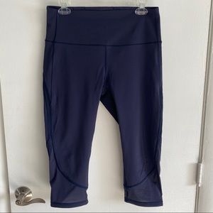 "Lululemon High Rise Fresh In Mesh Crop 19"" Navy 10"